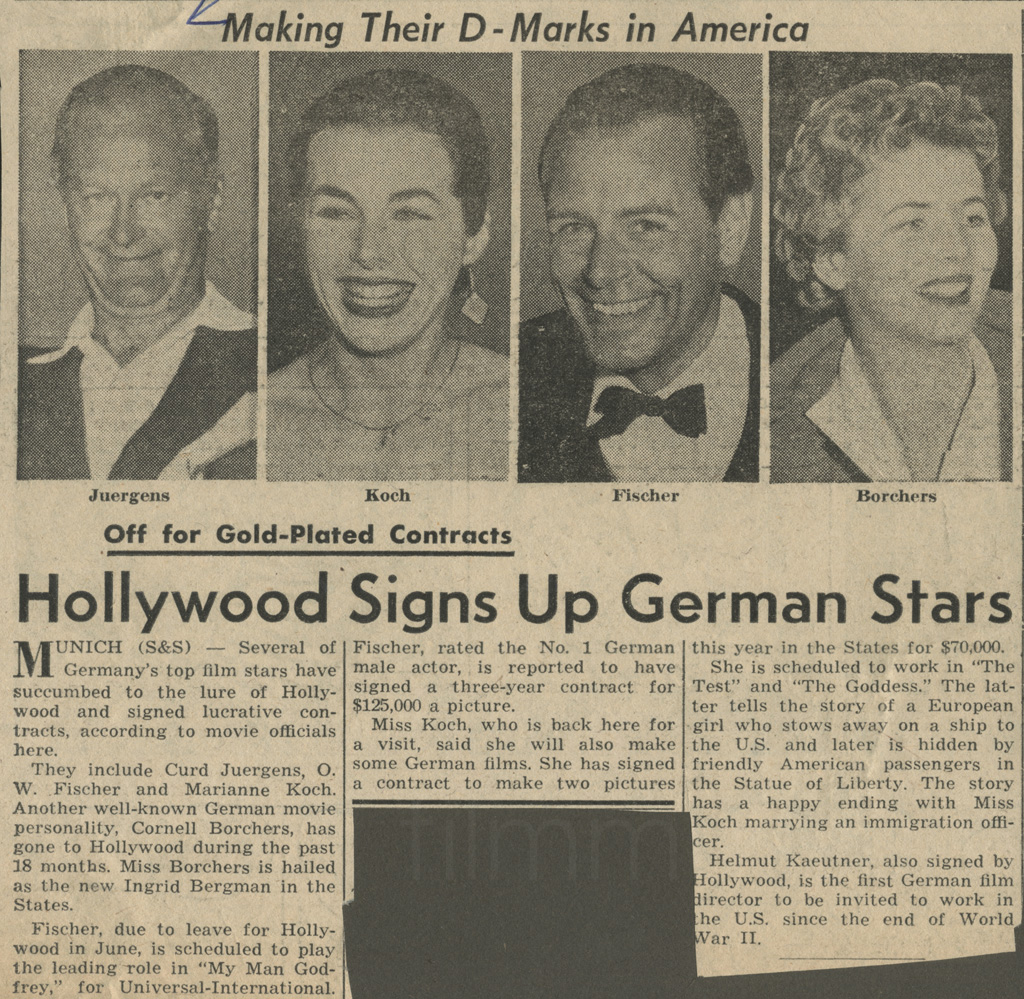"N.N.: ""Hollywood Signs Up German Stars"", 15.3.1956"