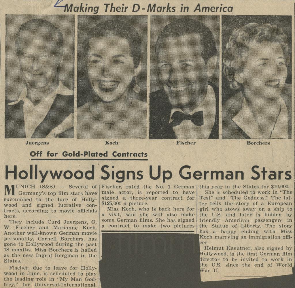 """N.N.: """"Hollywood Signs Up German Stars"""", 15.3.1956"""