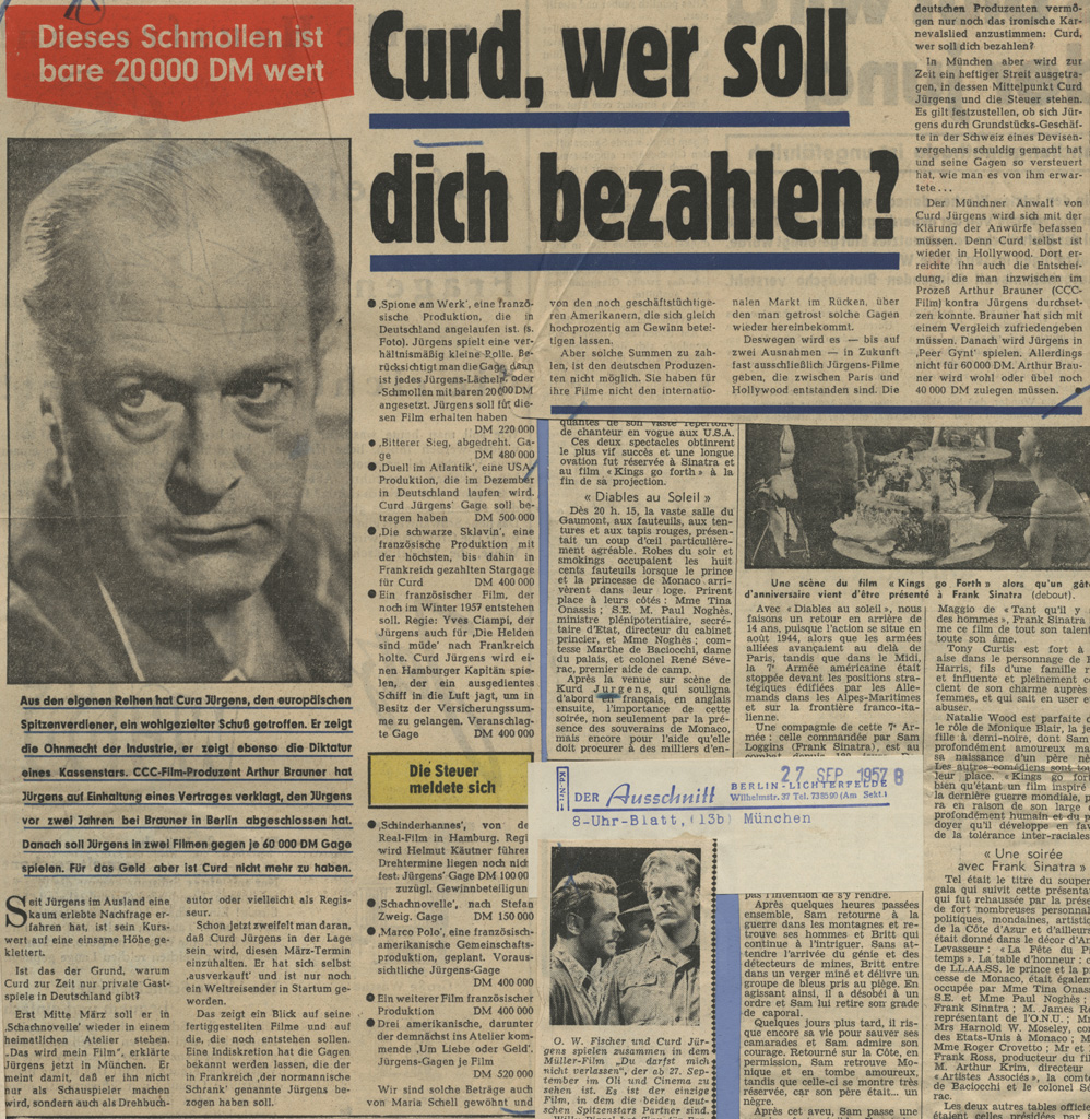 """Welt am Sonnabend: """"Curd, wer soll dich bezahlen?"""", 12.10.1957"""