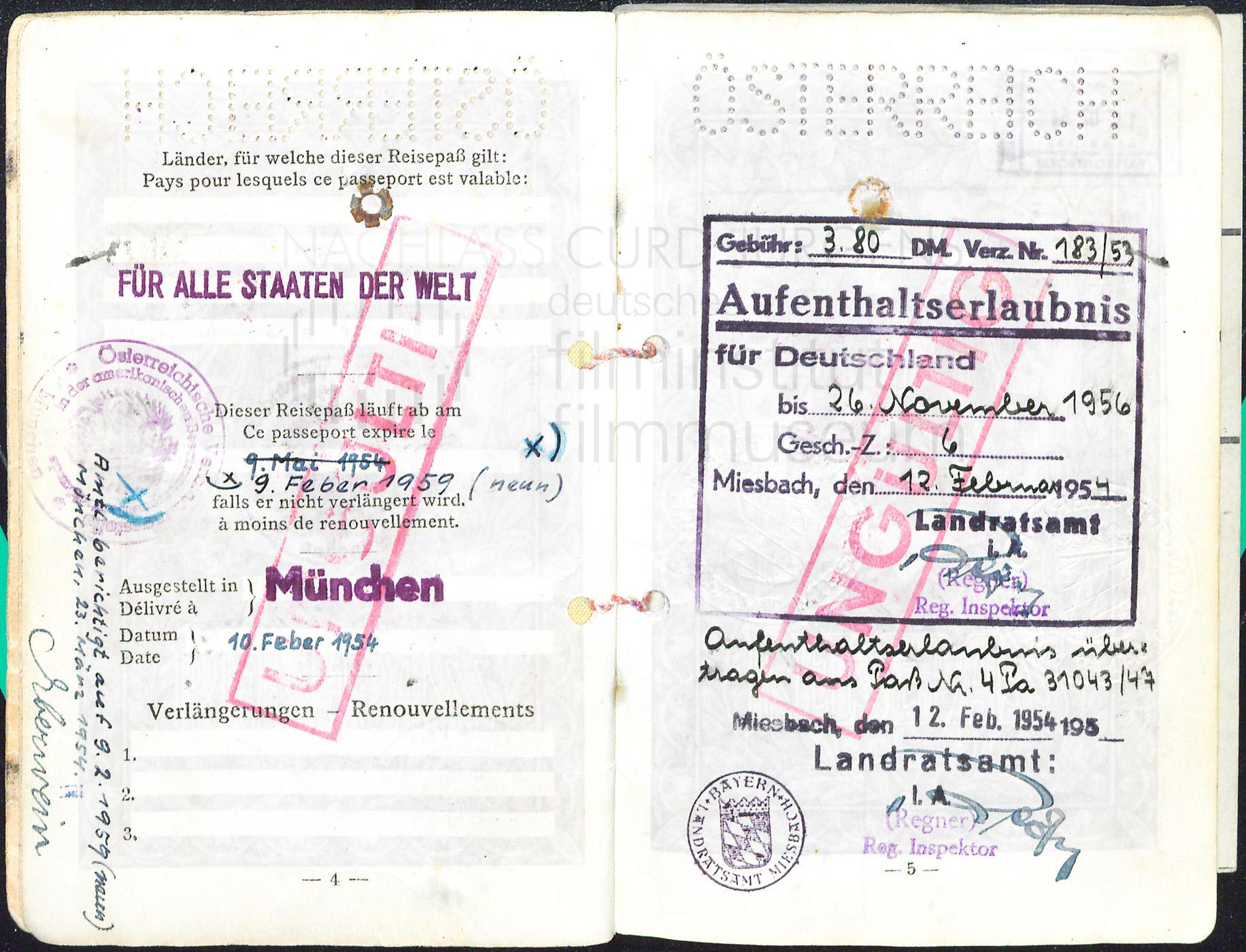 Österreichischer Reisepass, 1954-1959