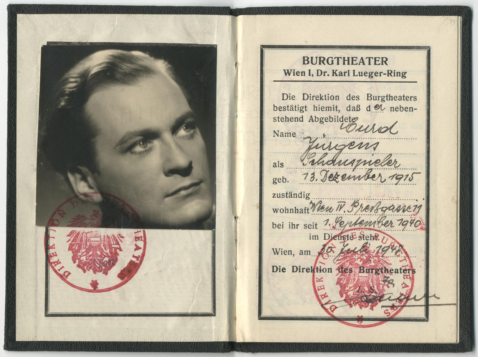 Burgtheater-Ausweis, 1947