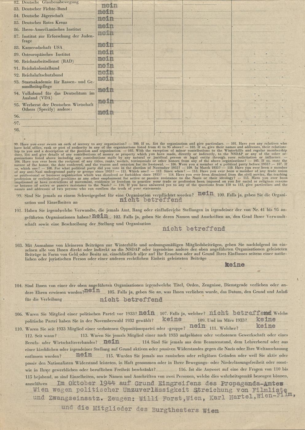 Fragebogen des Military Government of Germany / Militärregierung Deutschlands, 1945