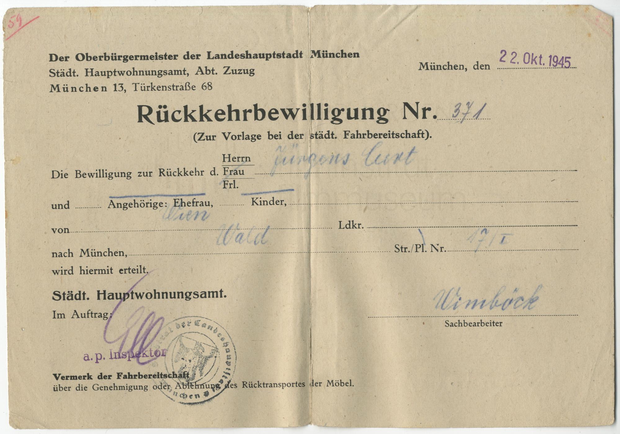 Rückkehrbewilligung für Curd Jürgens. München, 22.10.1945