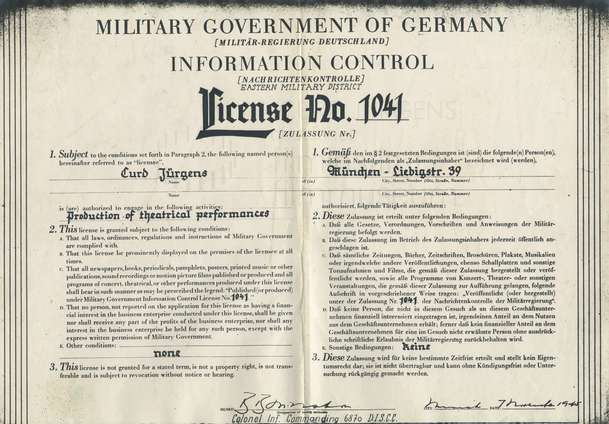 Theaterlizenz Nr. 1041, ausgestellt durch die Information Control (Nachrichtenkontrolle der Militär-Regierung). München, 7.11.1945