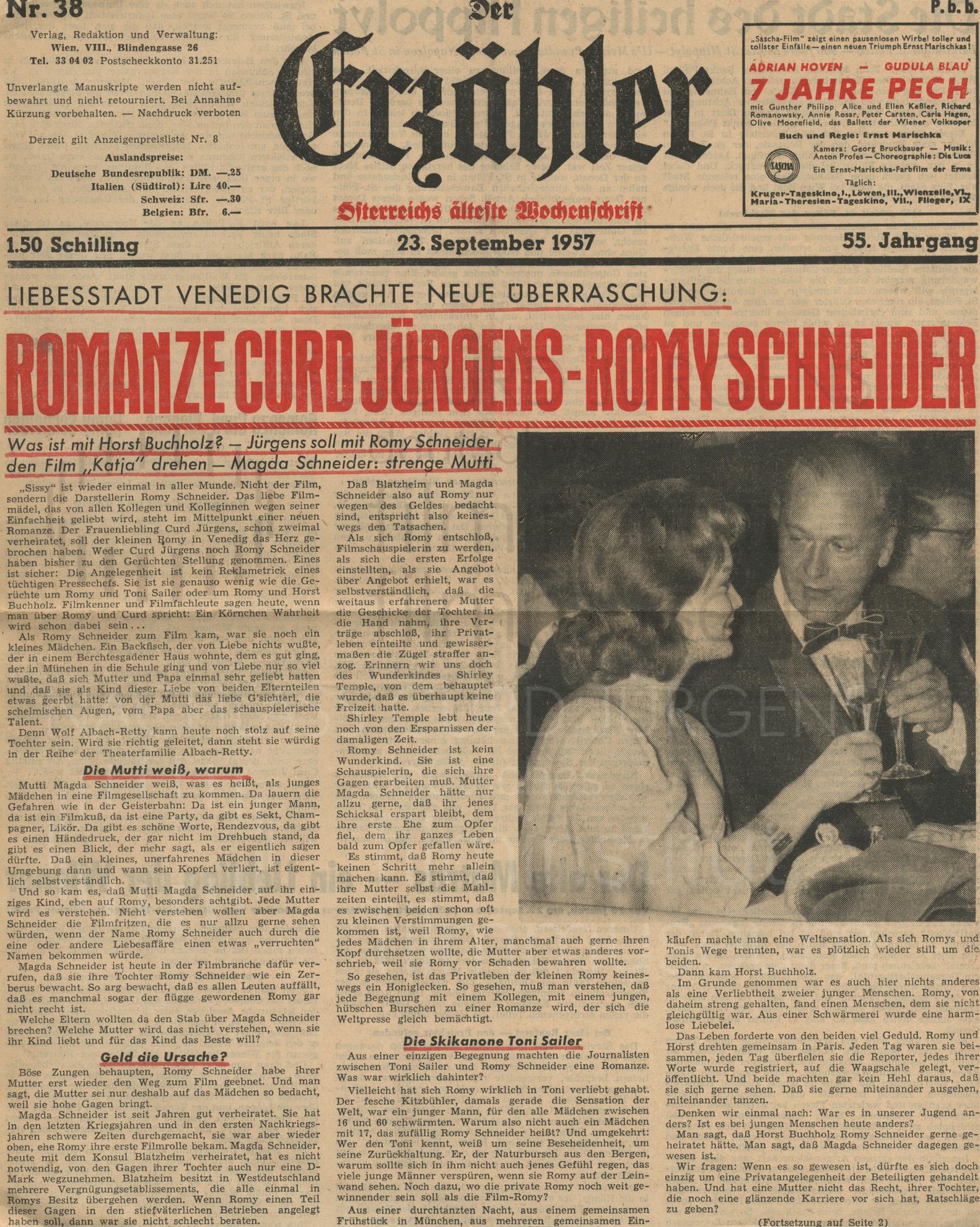 """Der Erzähler: """"Romanze Curd Jürgens - Romy Schneider"""", 23.9.1957"""