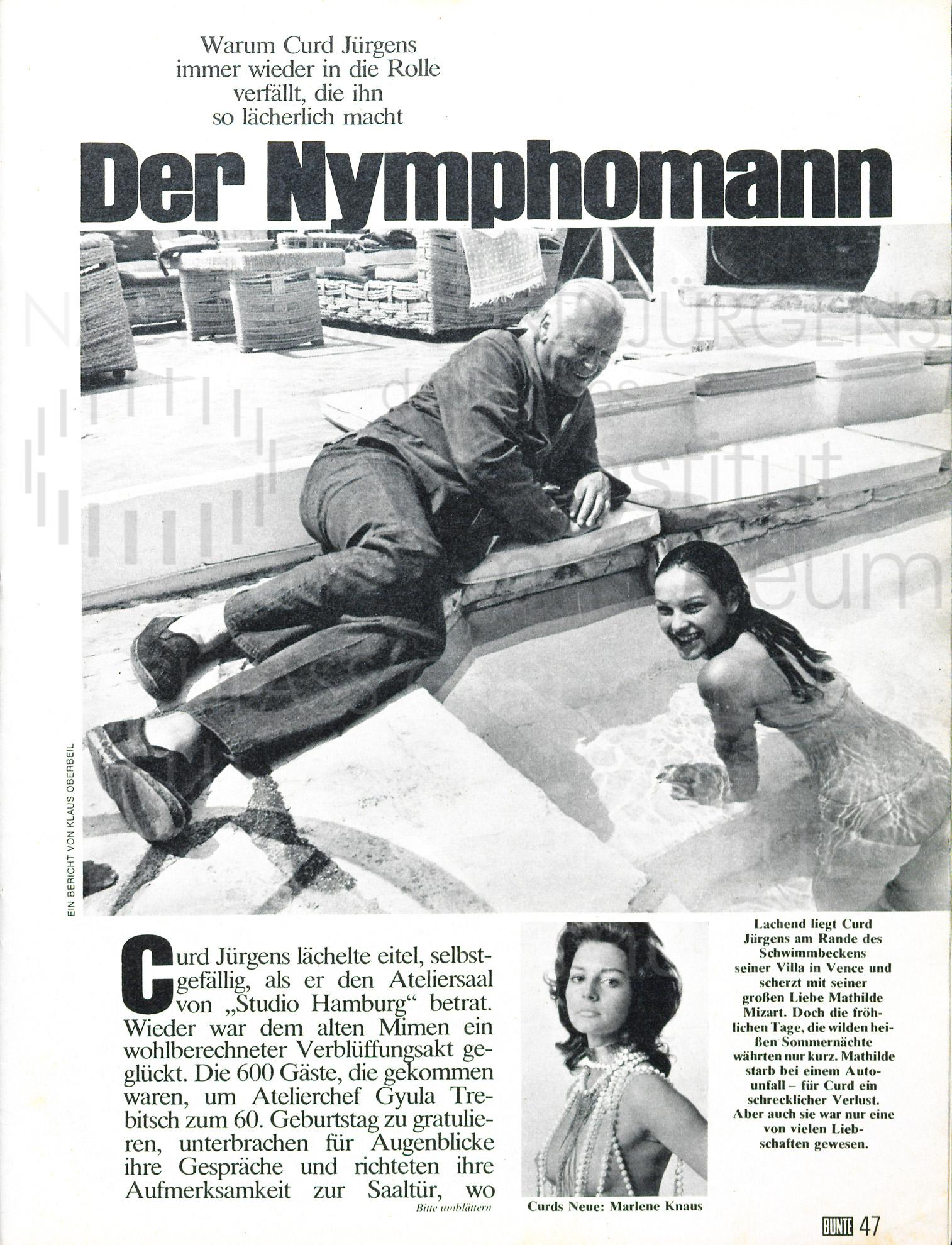 """BUNTE: """"Der Nymphomann"""", 1974"""
