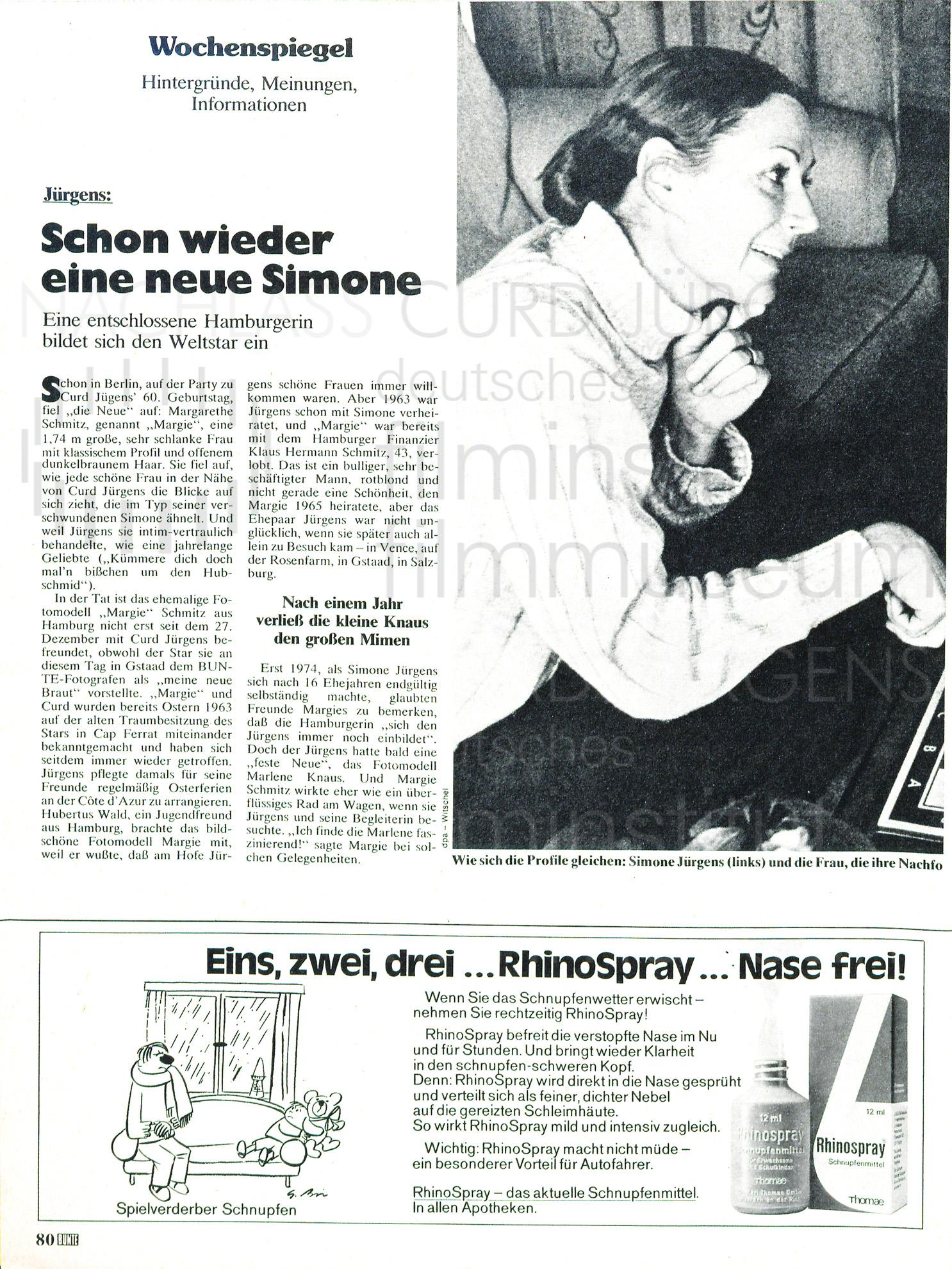 """BUNTE: """"Jürgens: Schon wieder eine neue Simone"""", 24.1.1976"""