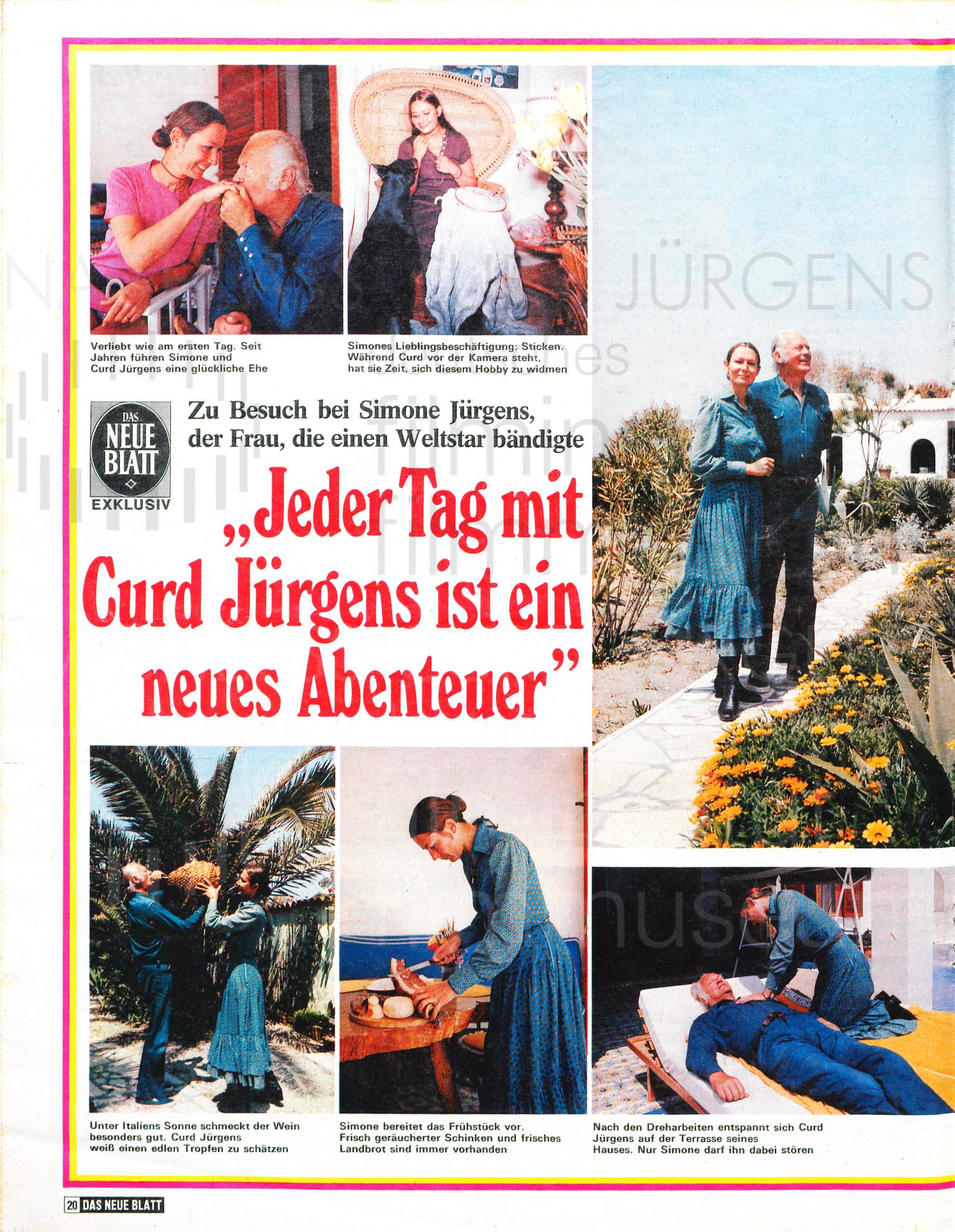 """DAS NEUE BLATT: """"Jeder Tag mit Curd Jürgens ist ein neues Abenteuer"""", 19.6.1971"""