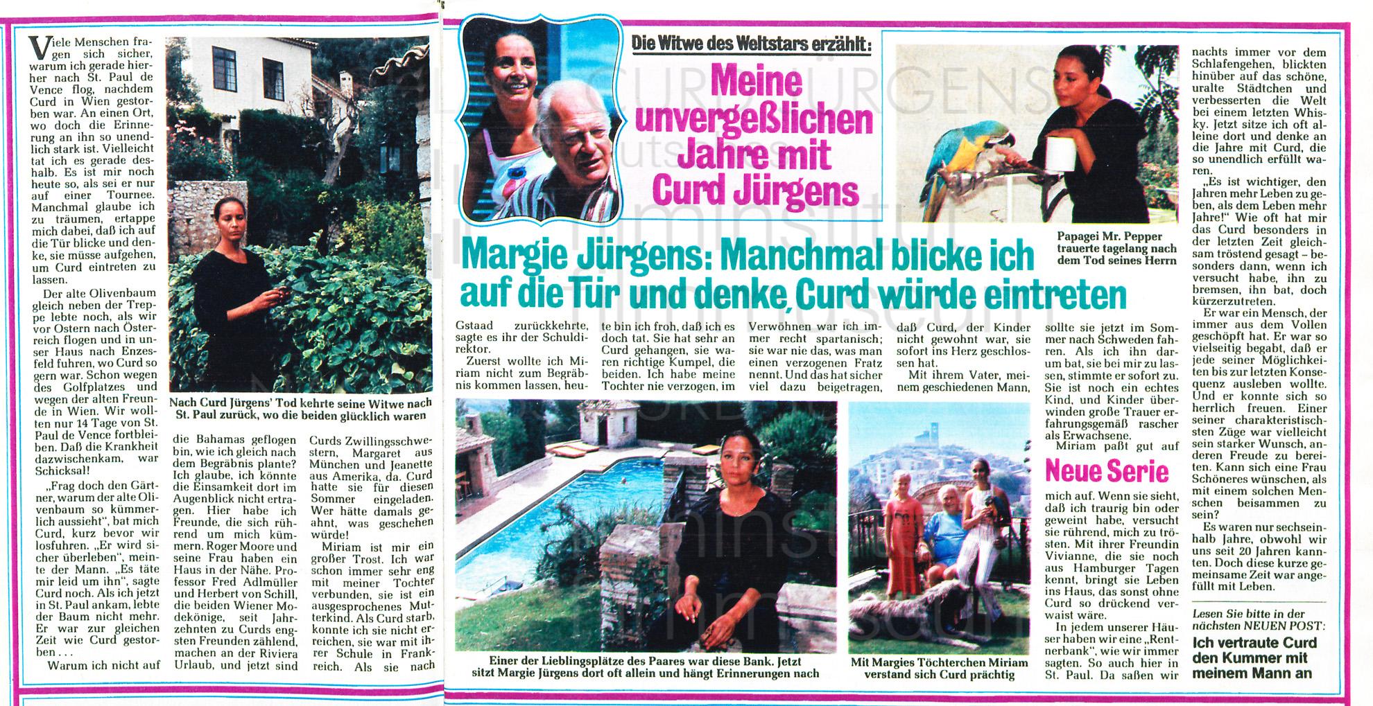 """Neue Post: """"Die Witwe des Weltstars erzählt"""", 1982"""
