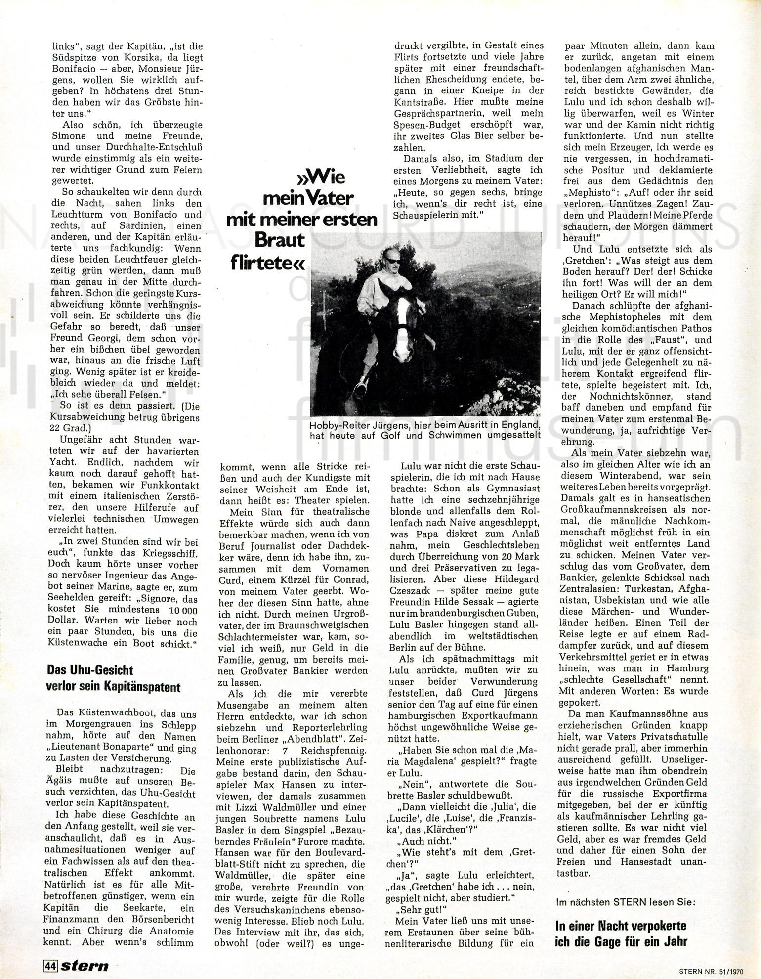 "stern: ""Ich, Curd Jürgens"", 1970"