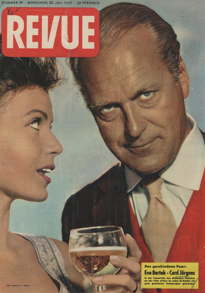 """Revue: """"Das geschiedene Paar: Eva Bartok - Curd Jürgens"""", Nr. 29, 20.6.1957"""