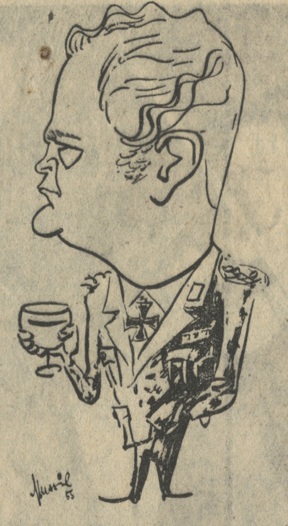 DES TEUFELS GENERAL (1955) Curd-Jürgens-Karikatur, 1955