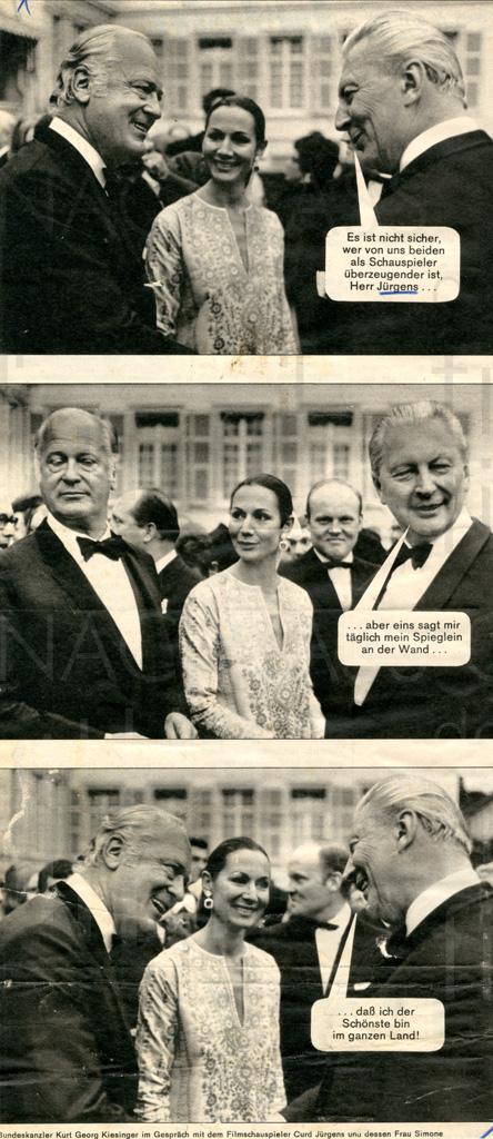 Kurt Georg Kiesinger mit Curd und Simone Jürgens, 1969