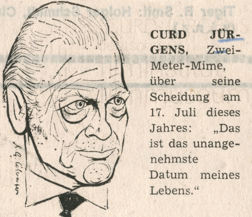 Curd-Jürgens-Karikatur, dt., 1977