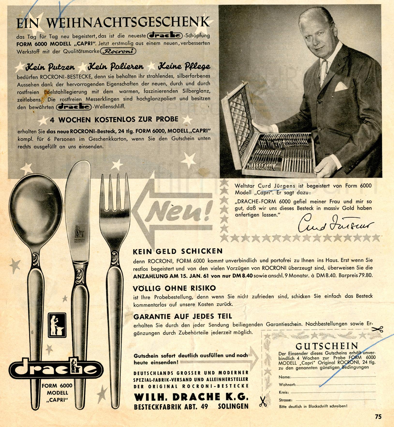 Werbung für Besteck der Marke DRACHE, 1960