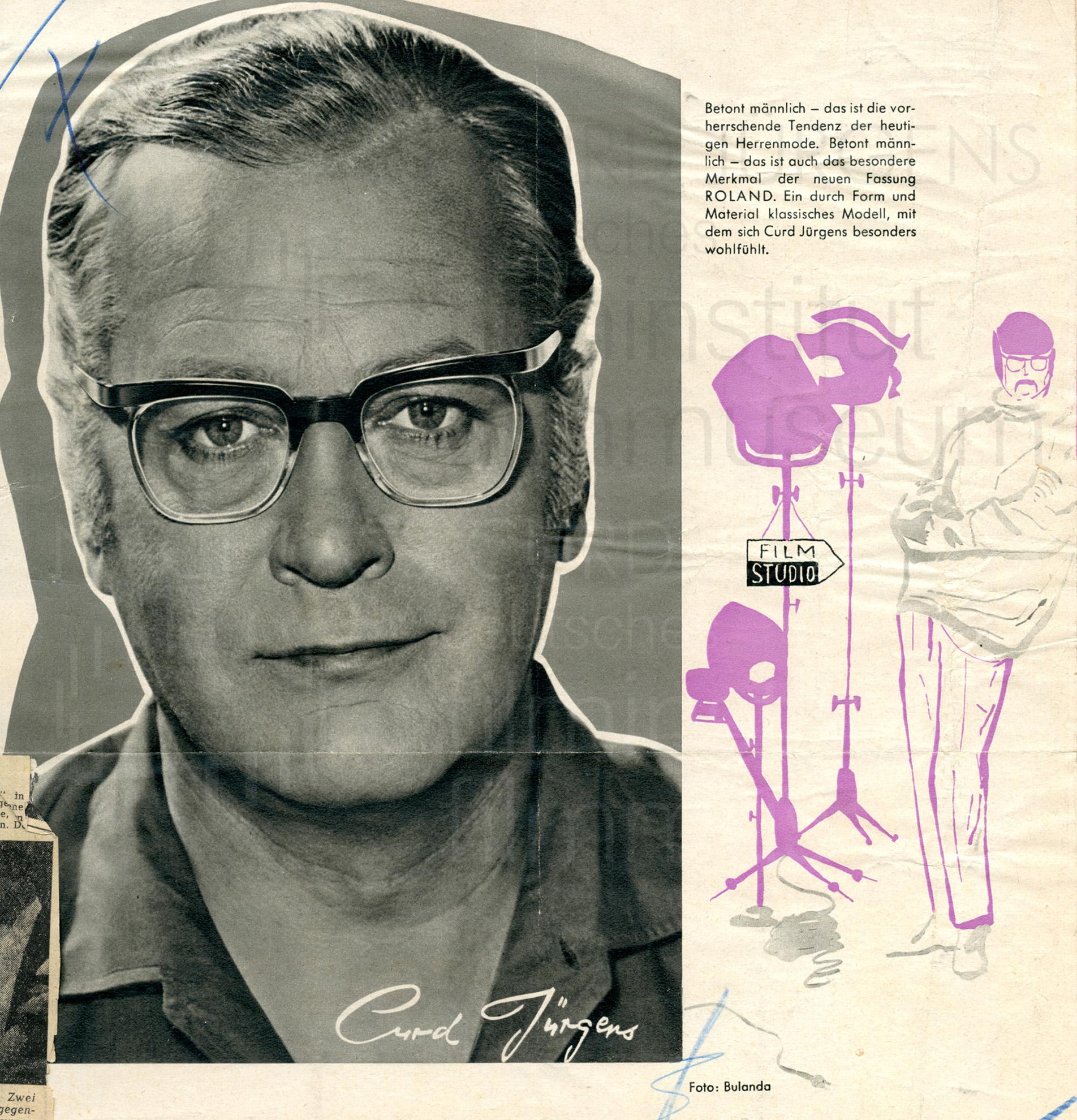 """Werbung für die Brillenfassung """"ROLAND"""" von Rodenstock, 1960"""