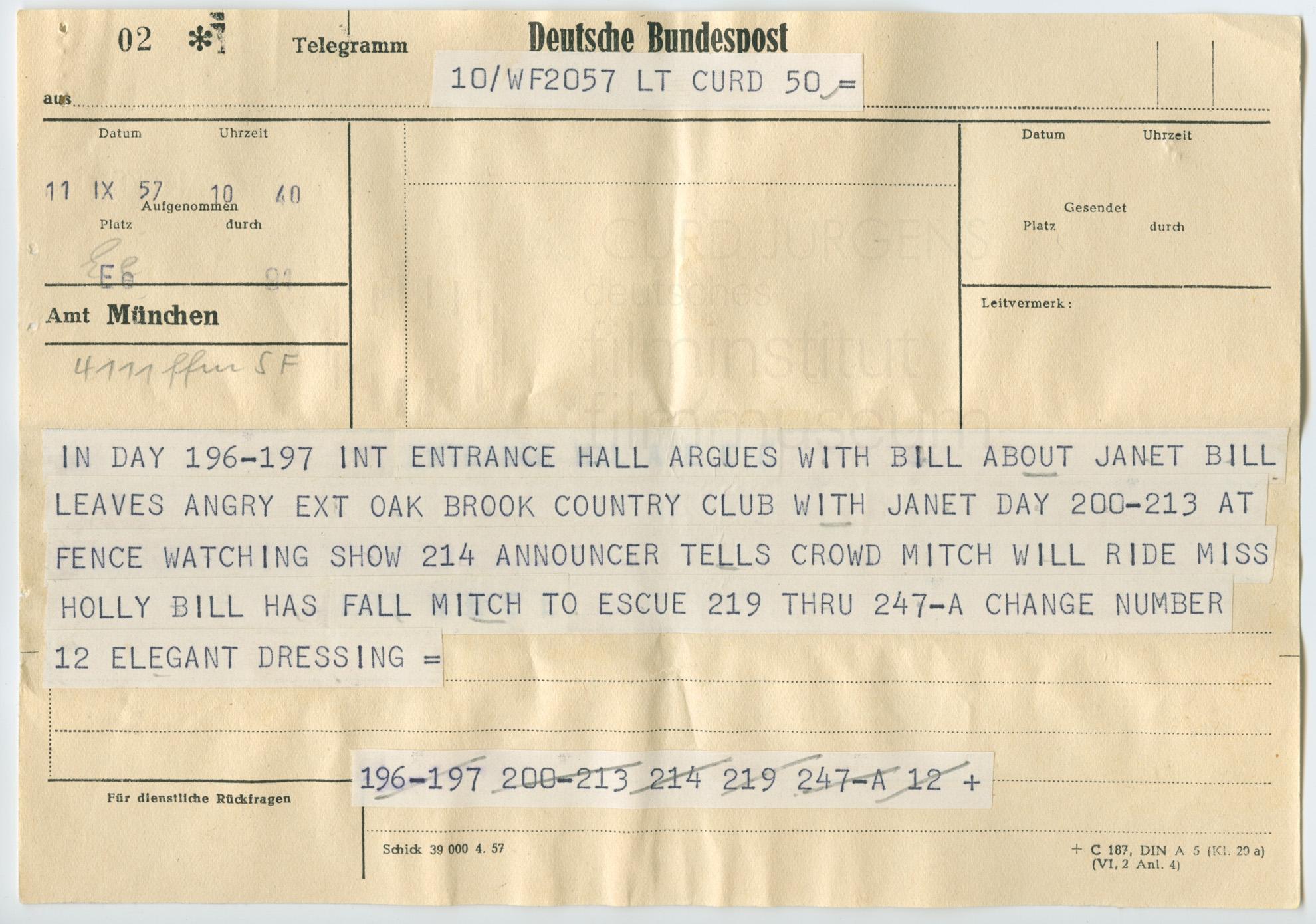 Anweisungen des Wardrobe-Departments der Universal an Curd Jürgens. Los Angeles, 11.9.1957