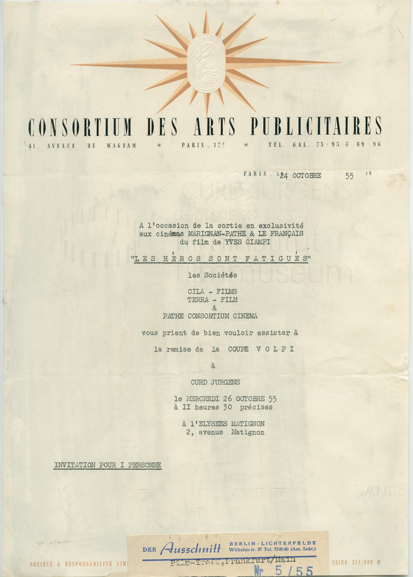 LES HÉROS SONT FATIGUÉS (1955) Einladung zur Verleihung des Coppa Volpi an Curd Jürgens