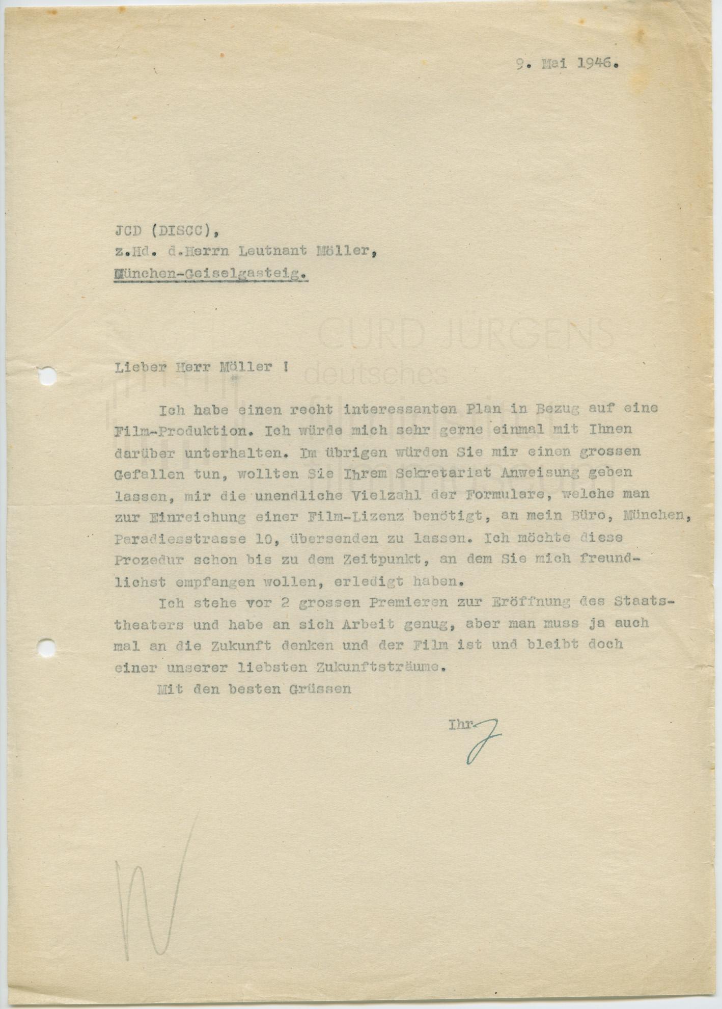 Curd Jürgens an Paul E. Moeller. [München], 9.5.1946