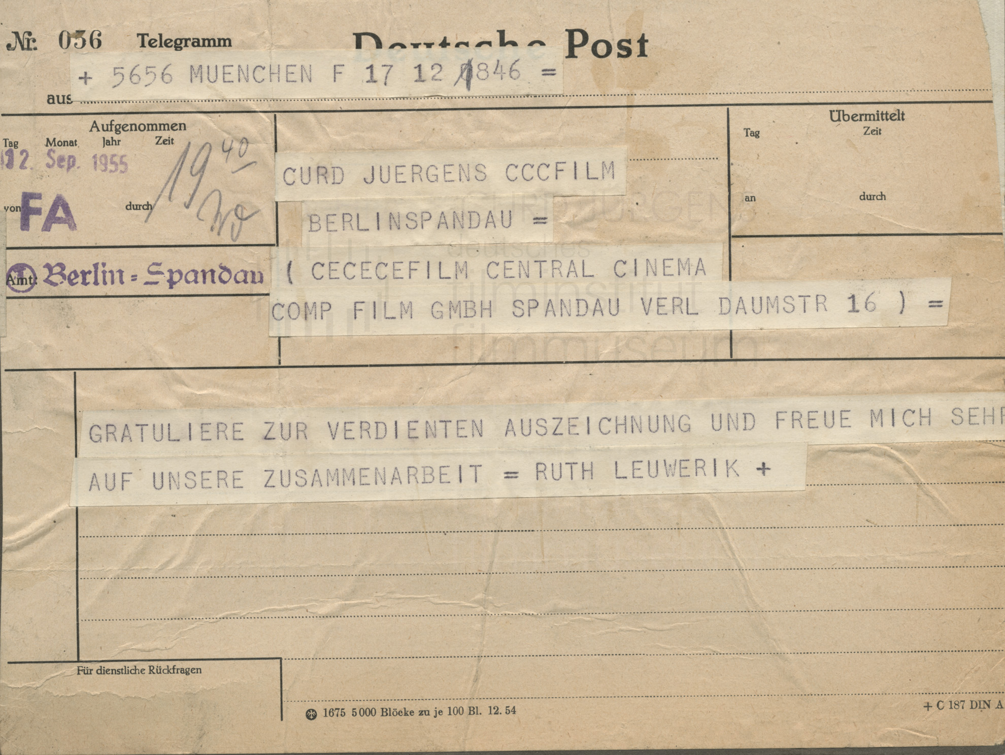 Ruth Leuwerik an Curd Jürgens. München, 12.9.1955