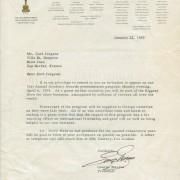 Oscar-Einladung von George Stevens an Curd Jürgens, 22.1.1959
