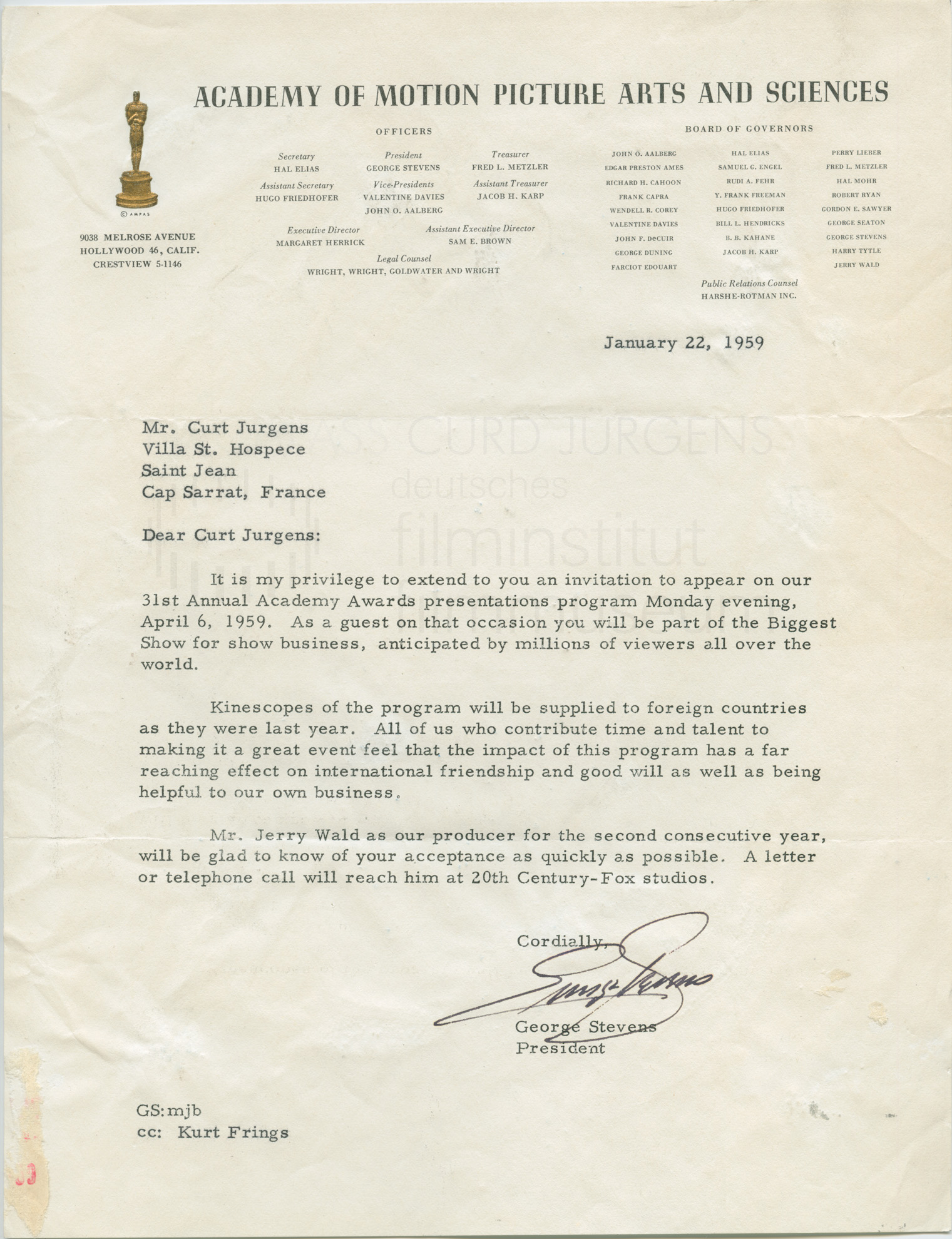 Oscar-Einladung von George Stevens an Curd Jürgens, 22.1.1959.