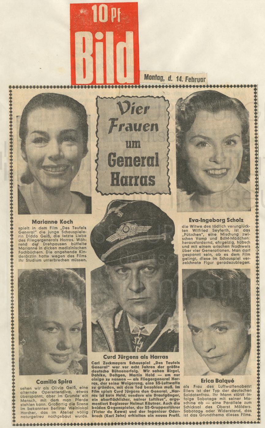 """DES TEUFELS GENERAL (1955), Bildzeitung: """"Vier Frauen um general Harras"""", 14.2.1955"""