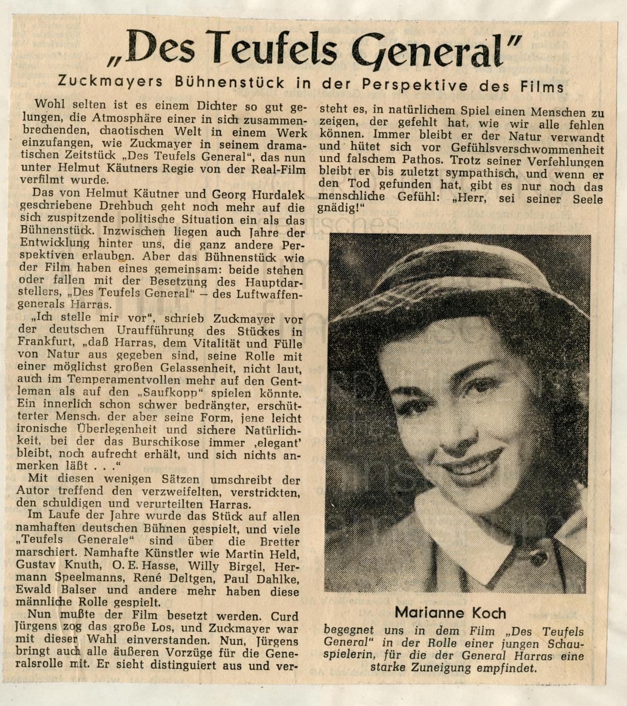 DES TEUFELS GENERAL (1955), Hannoversche Allgemeine Zeitung, 19.2.1955