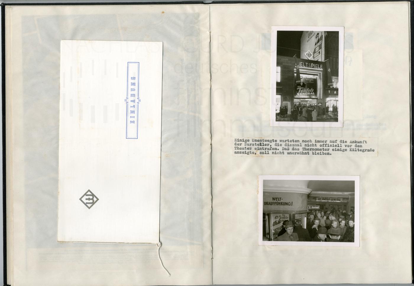 DES TEUFELS GENERAL (1955) Dokumentation der Werbemaßahmen, 23.2.1955, Hannover (Weltspiele)