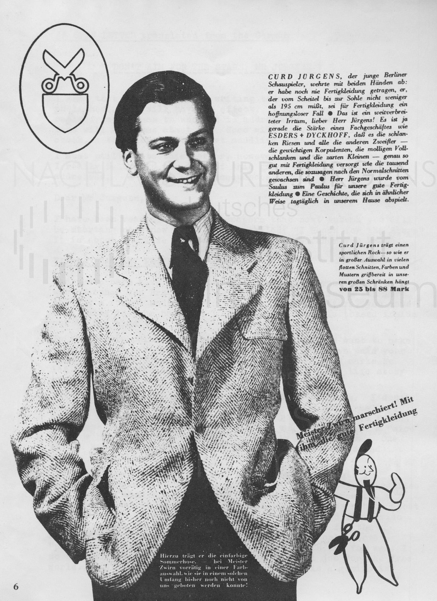 Werbung für das Kleiderfachgeschäft ESDERS + DYCKHOFF, ca. 1930er Jahre