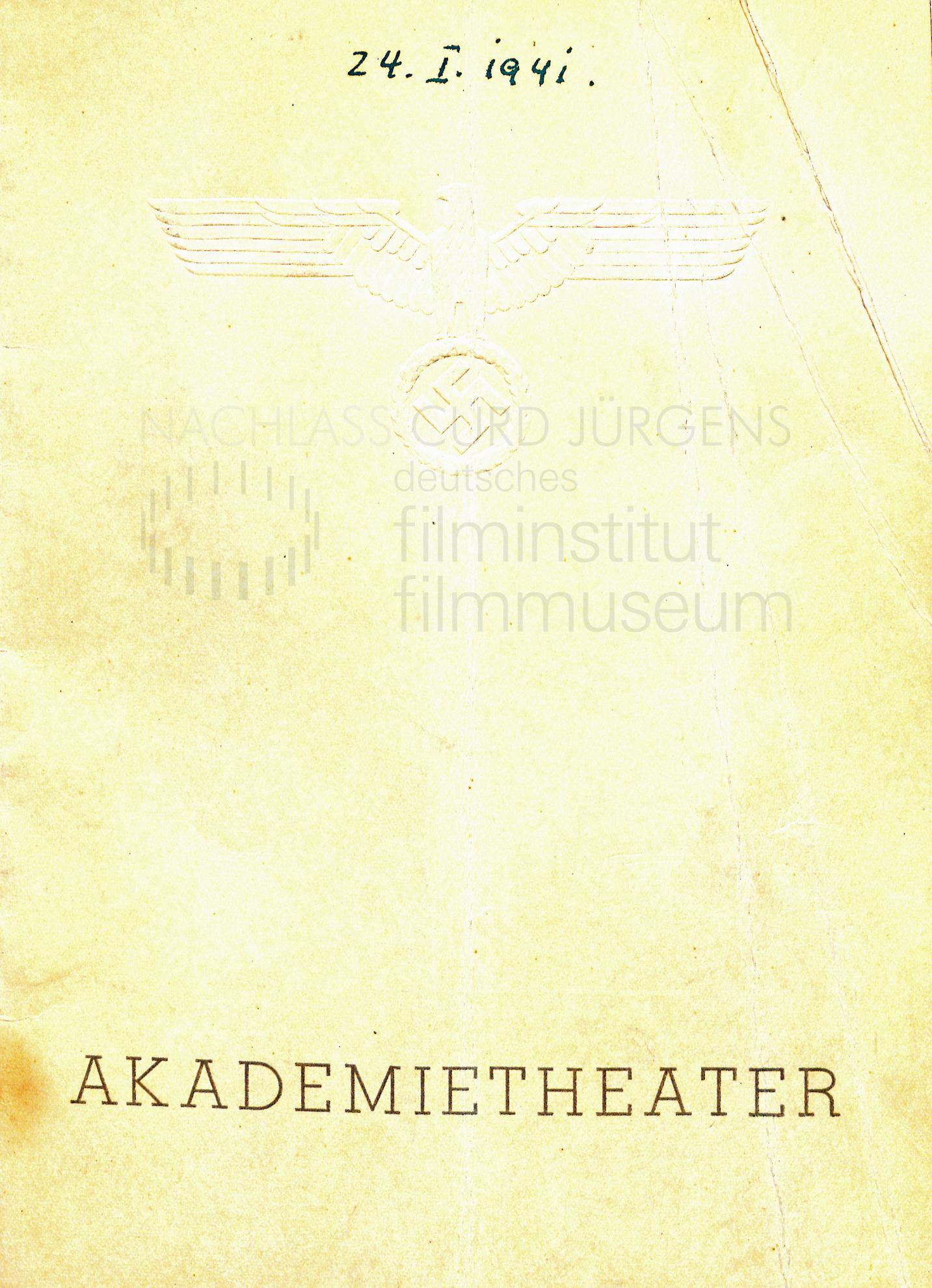 """""""Die Söhne des Herrn Grafen"""" Programm. Akademietheater, Wien, 24.1.1941"""