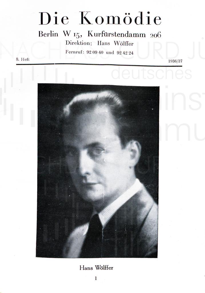 """""""Der Unentbehrliche"""" Programm. Komödie am Kurfürstendamm, 1936/37"""