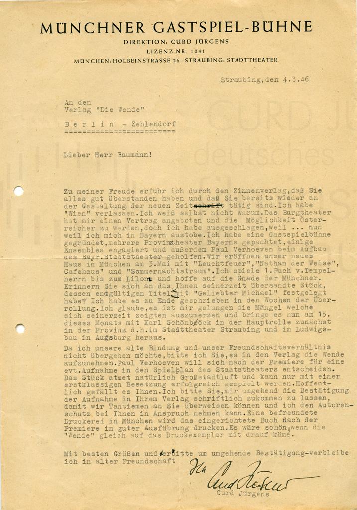 """Curd Jürgens an Paul Baumann (Verlag """"Die Wende""""). Straubing, 4.3.1946"""