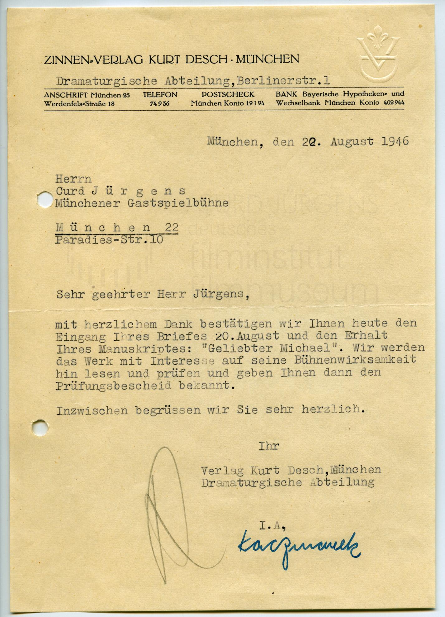 [ ] Kaczmarek (Zinnen-Verlag Kurt Desch) an Curd Jürgens. München, 22.8.1946