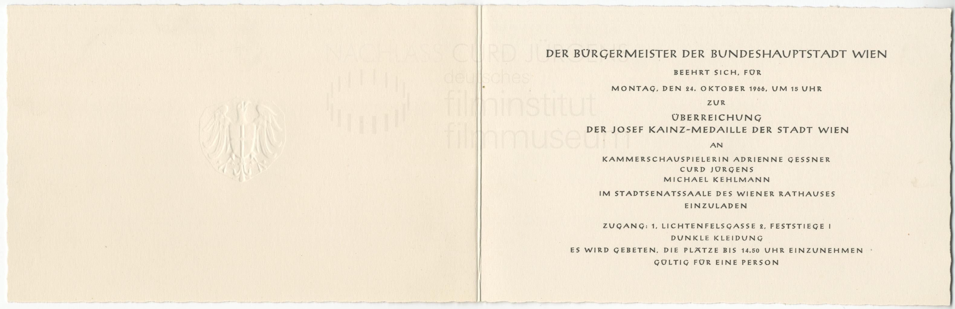 """""""Richter in eigener Sache"""" Einladungskarte zur Verleihung der Josef-Kainz-Medaille der Stadt Wien, 1966"""