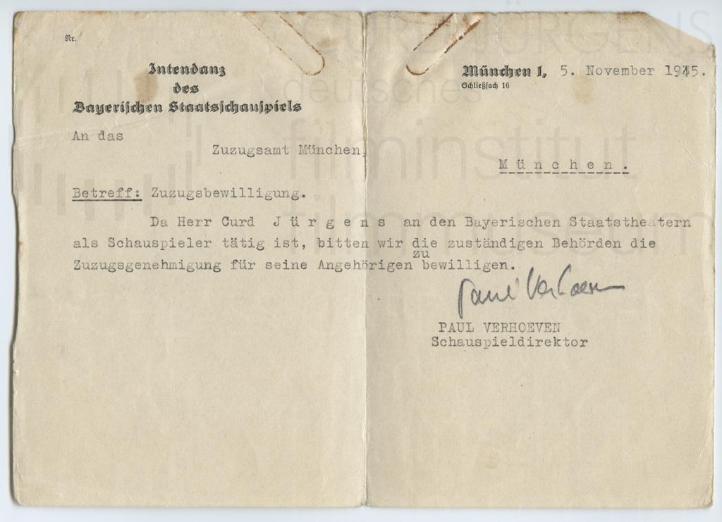 Antrag Zugsbewilligung Curd Jürgens, Paul Verhoeven. München, 5.11.1945Antrag Zugsbewilligung Curd Jürgens, Paul Verhoeven. München, 5.11.1945