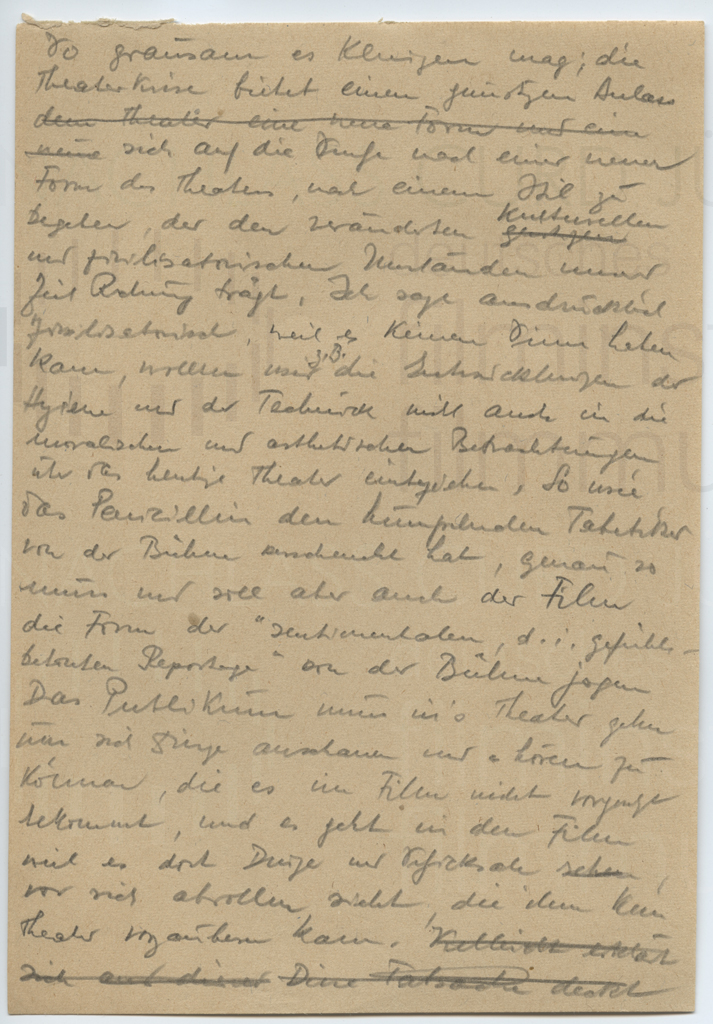 """Schriften zur """"neuen"""" Form des Theaters und sein Verhältnis zum Film, 1940er Jahre"""
