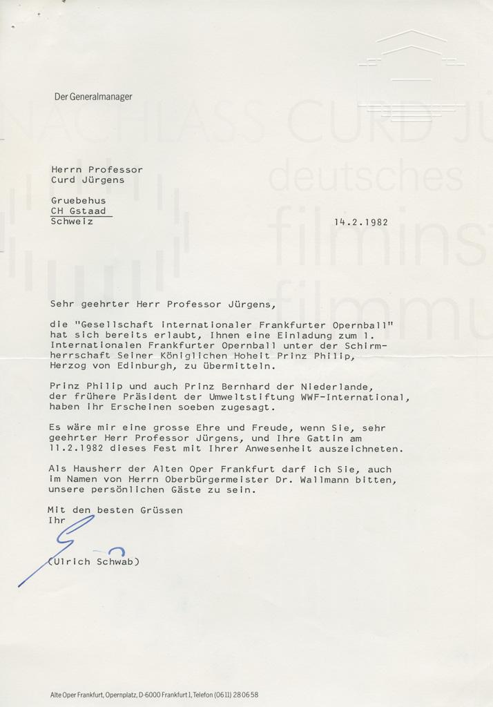 Ulrich Schwab (Generalmanager Alte Oper, Frankfurt) an Curd Jürgens. Frankfurt, 14.2.1982