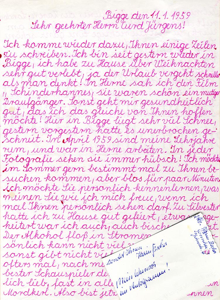 Fanpost an Curd Jürgens. Bigge, 11.1.1959