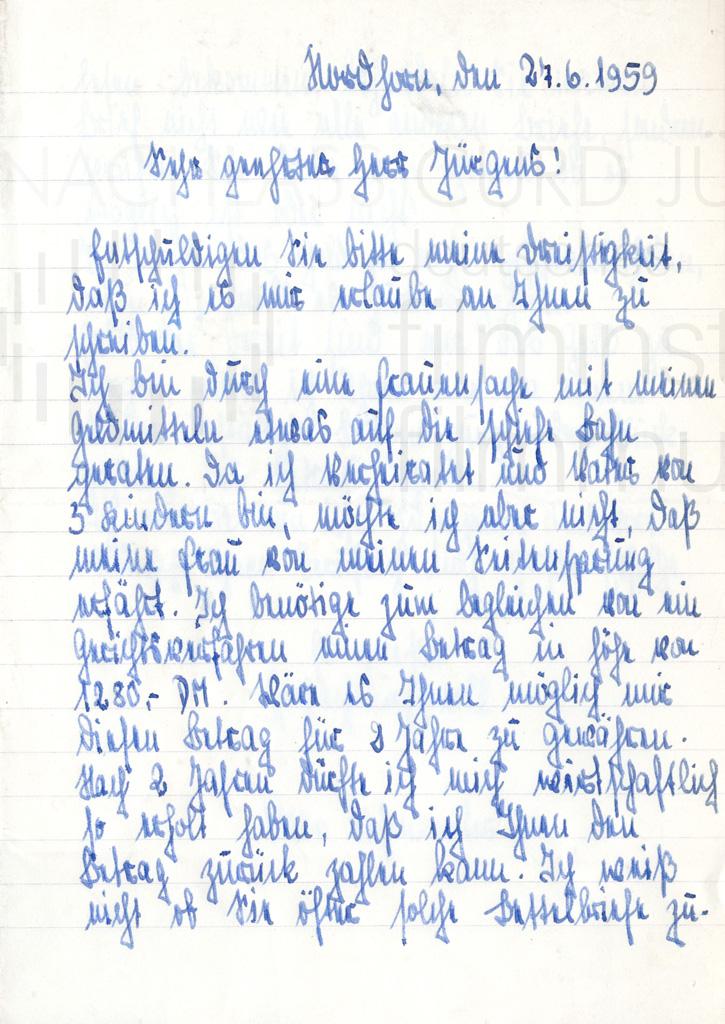 Fanpost an Curd Jürgens, 27.6.1959