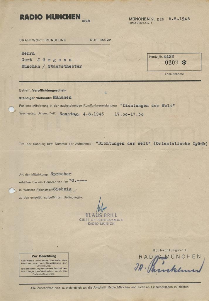 """""""Dichtungen der Welt"""" Verpflichtungsschein als Sprecher. München, 6.8.1946"""