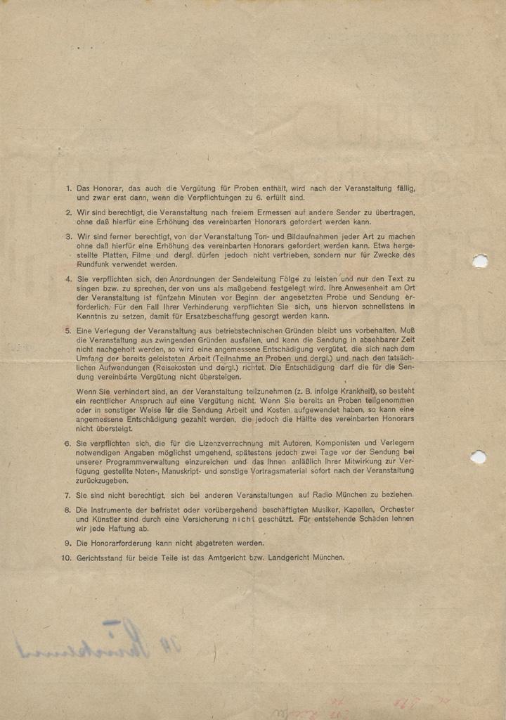 """""""Dichtungen der Welt"""" Verpflichtungsschein als Radiosprecher. München, 6.8.1946"""