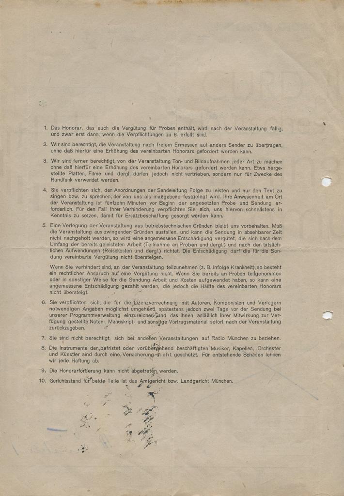 """""""Lilofee"""" Verpflichtungsschein als Radiosprecher. München, 13.8.1946"""