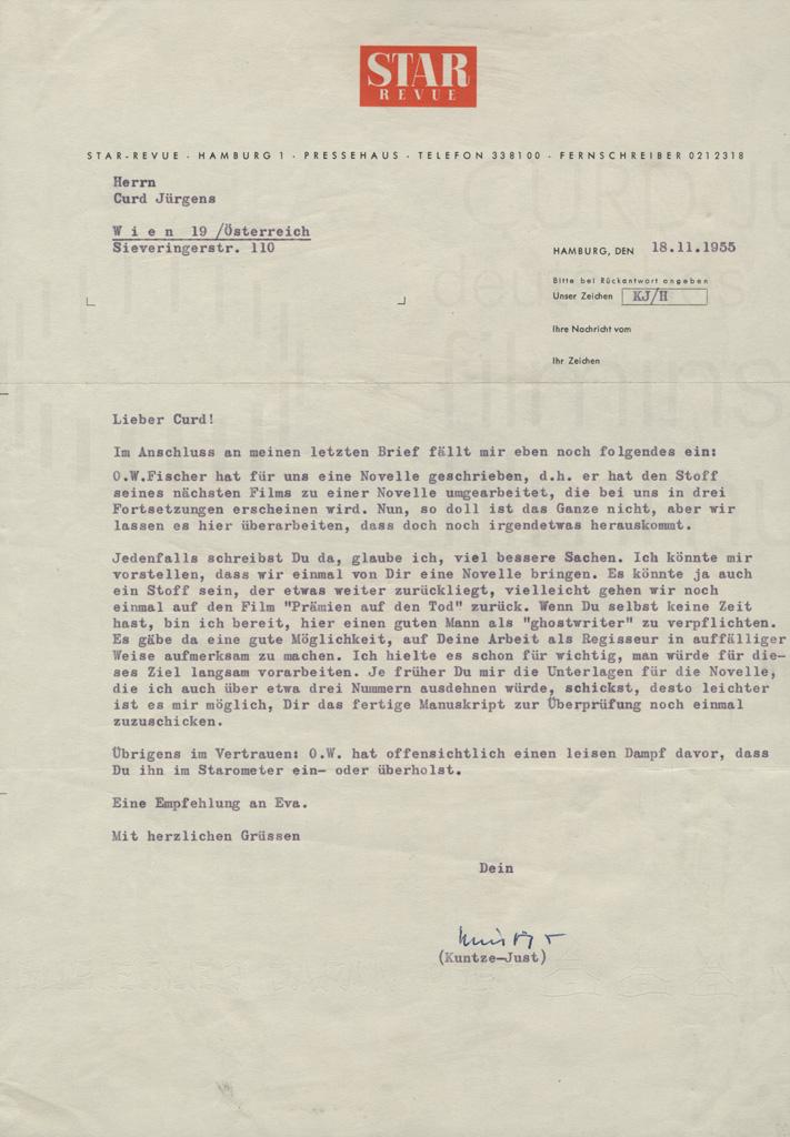 [Heinz] Kuntze-Just (Star-Revue) an Curd Jürgens. Hamburg, 18.11.1955