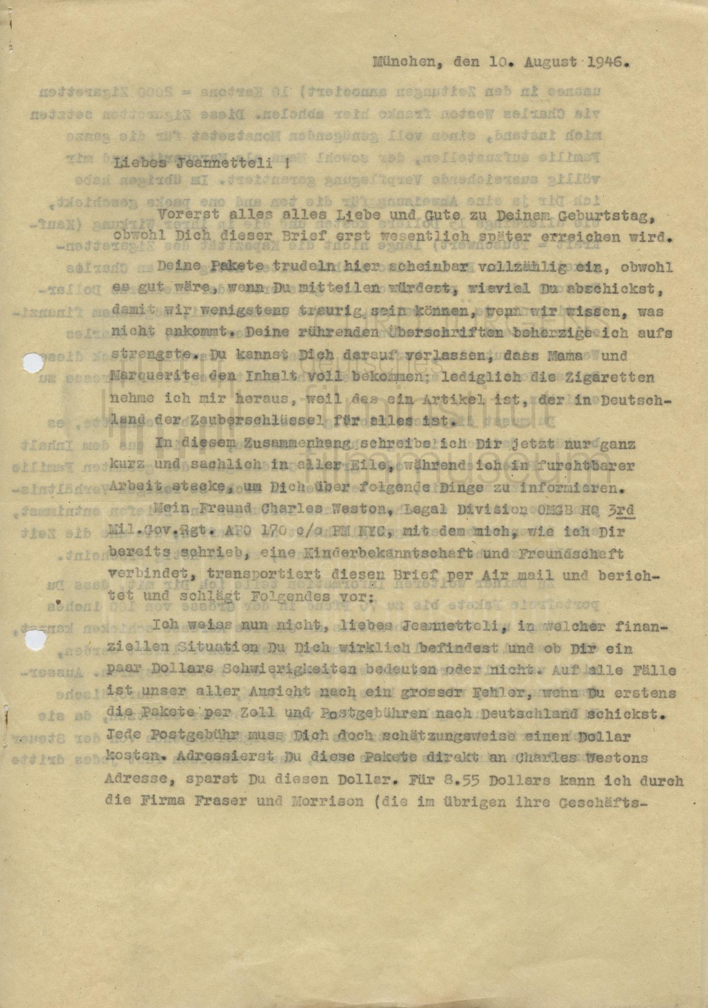Curd Jürgens an seine Schwester Jeannette. München, 10.8.1946