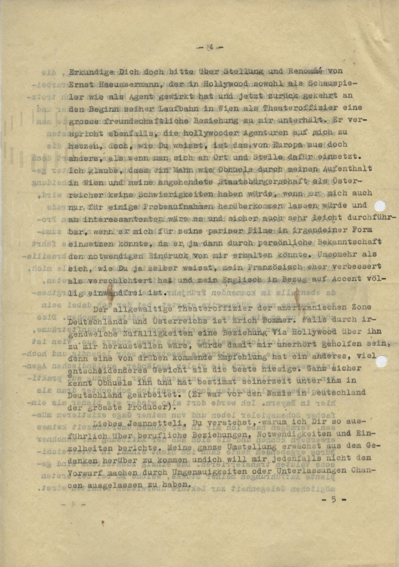 Curd Jürgens an seine Schwester Jeannette. München, 23.9.1946