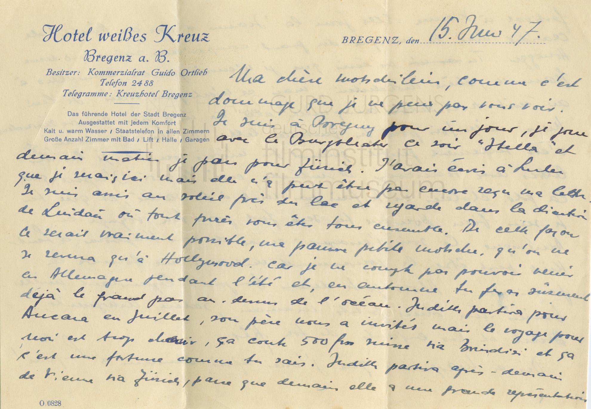 "Curd Jürgens an seine Mutter Marie-Albertine (""Moussia""). Bregenz, 15.6.1947"