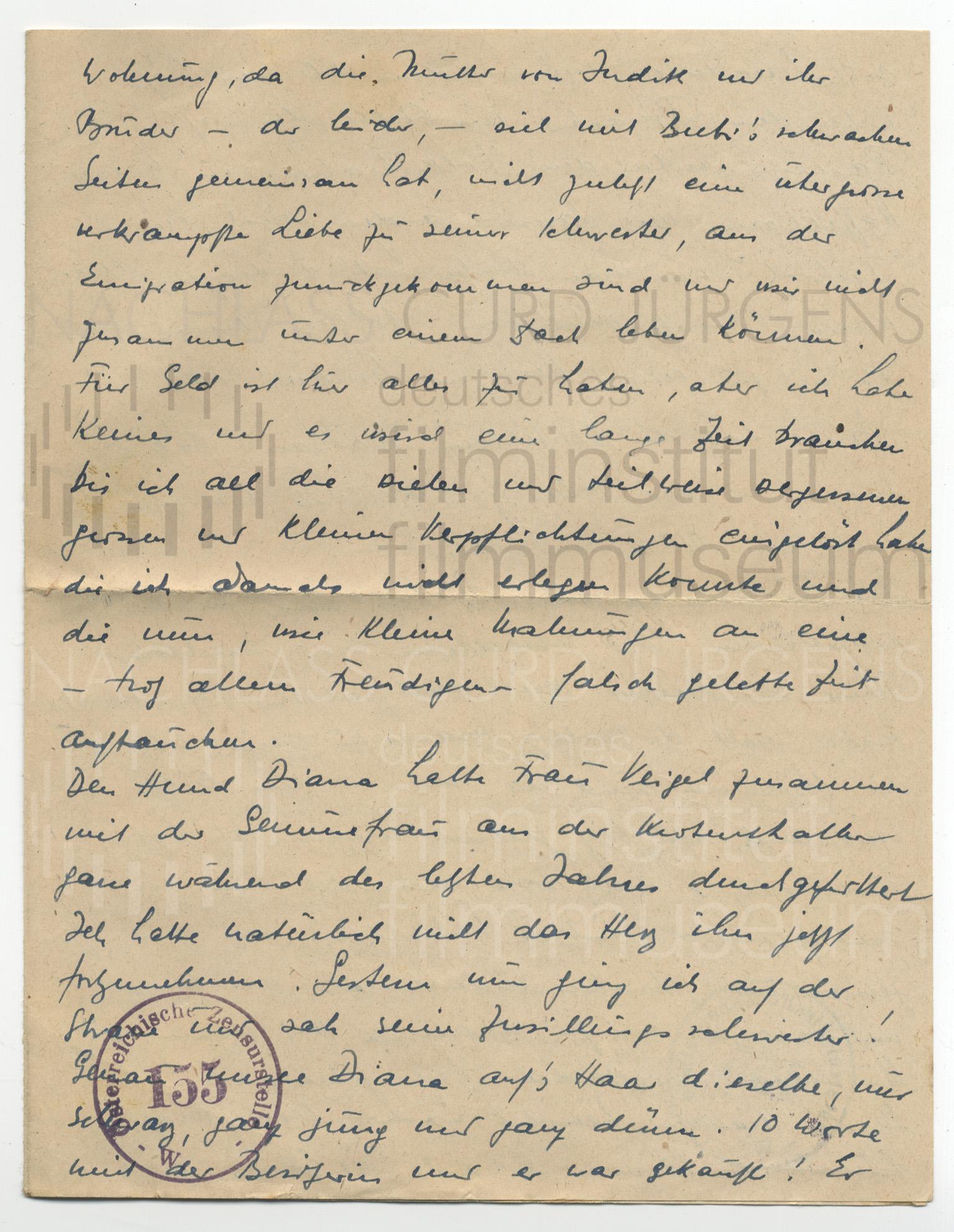 Curd Jürgens an Lulu Basler. [Wien, ca. 1945]