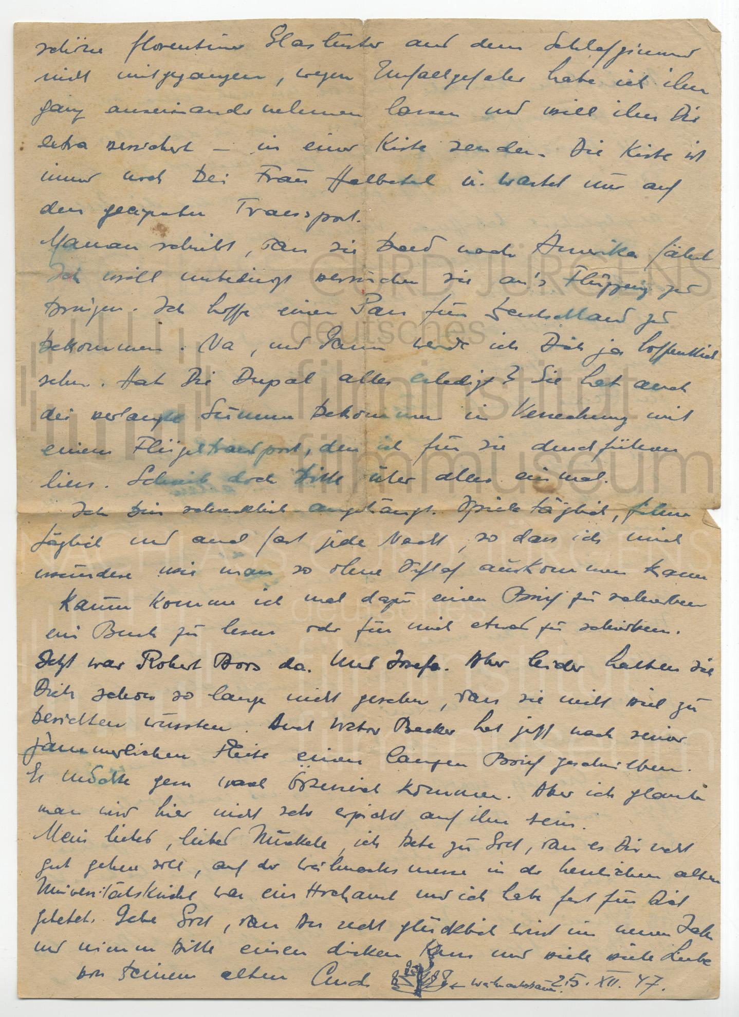 Curd Jürgens an Lulu Basler. 25.12.1947