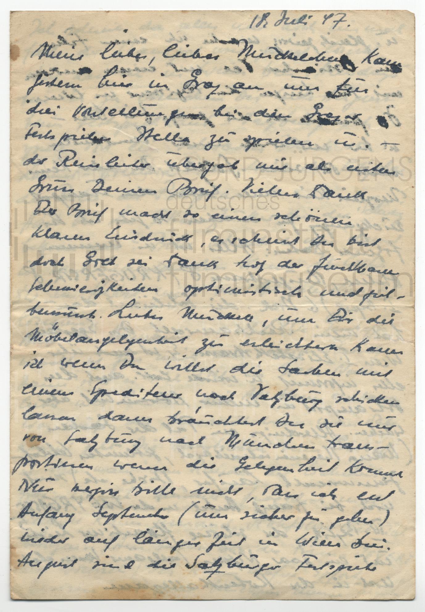 Curd Jürgens an Lulu Basler. 18.7.1947